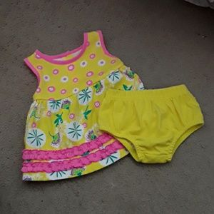 Kidgets Girls 0-3M Yellow Dress w/Panty Ruffles